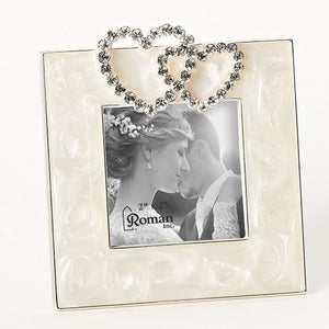 "3.5"" Double Hearts with Crystals Frame"