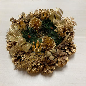 Golden Advent Wreath with Pine Cones