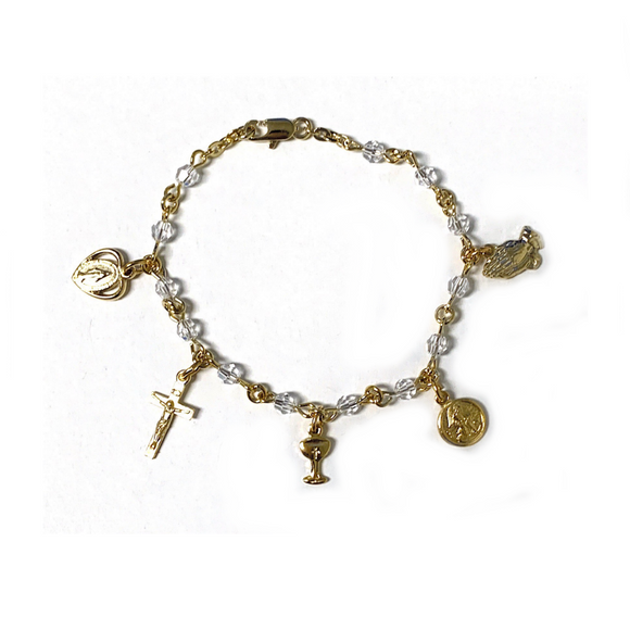 Gold Plated Crystal Communion Charm Bracelet