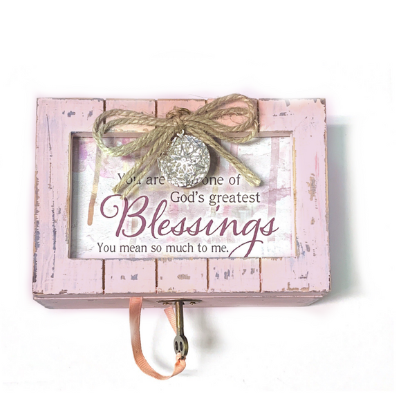 Greatest Blessings Pink Distressed Music Box