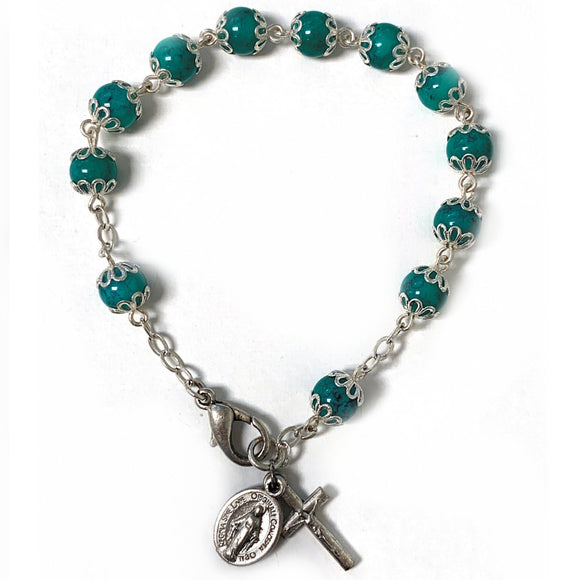 Teal Capped Rosary Bracelet