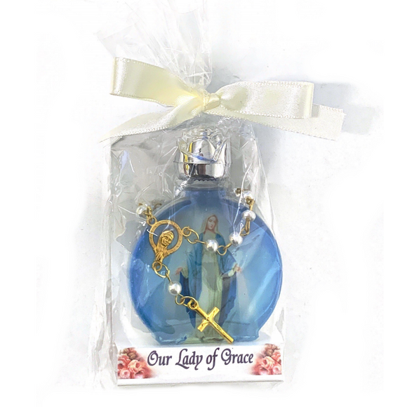 Our Lady of Grace Holy Water Bottle and Decade Rosary Set