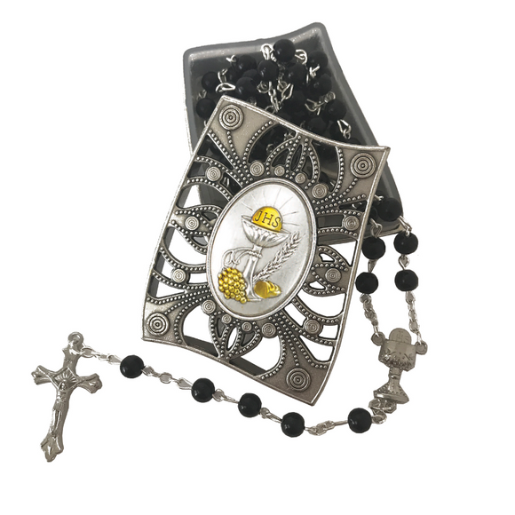 First Communion Black Glass Rosary & Box