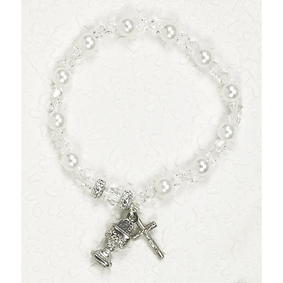 Pearl & Crystal Communion Stretch Bracelet