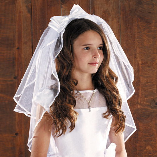 Satin Bow with Pearls Communion Veil