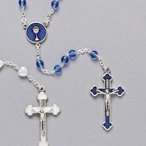 Blue Enamel Communion Rosary