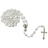 Silver First Communion Box & White Rosary