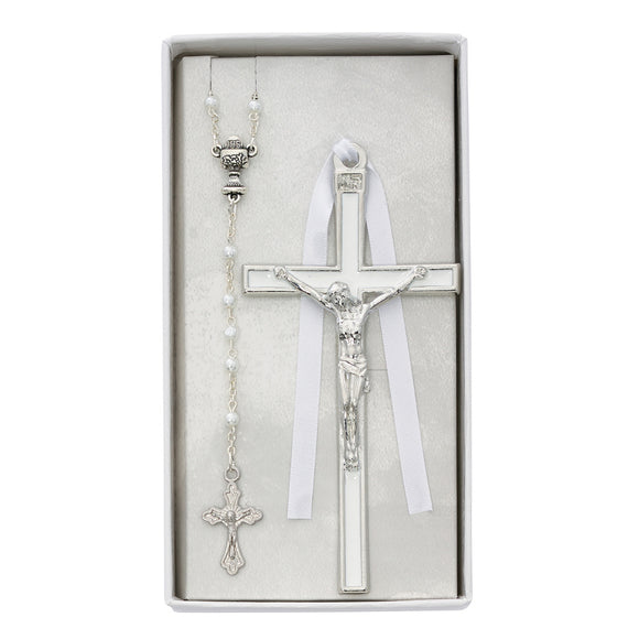 White Communion Rosary and Enameled Crucifix Set