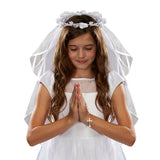Floral Tiara First Communion Veil