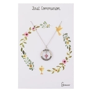 Pink Crystal First Communion Silver Necklace