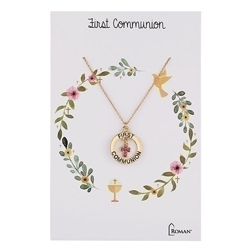 Pink Crystal First Communion Gold Necklace