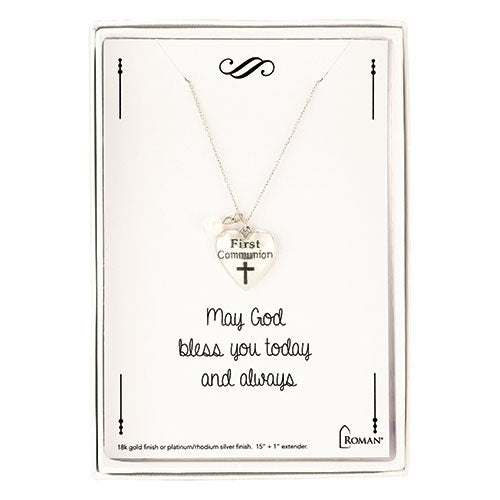 First Communion Silver Heart Necklace