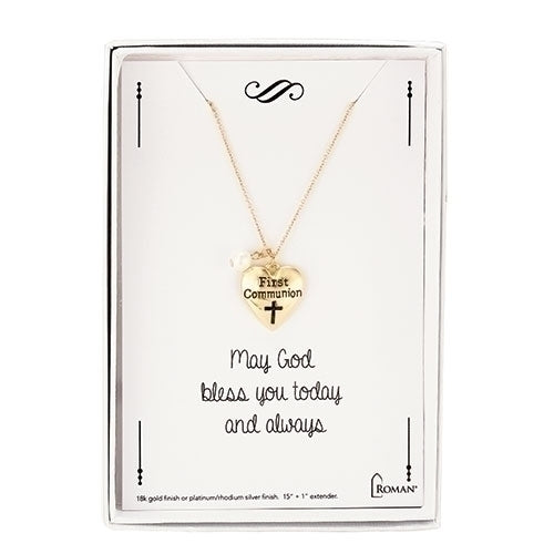 First Communion Gold Heart Necklace