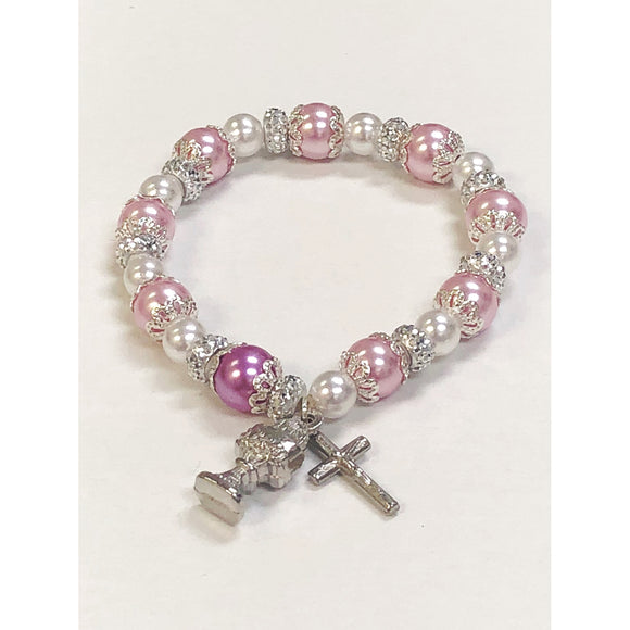 Pink Pearl First Communion Stretch Bracelet