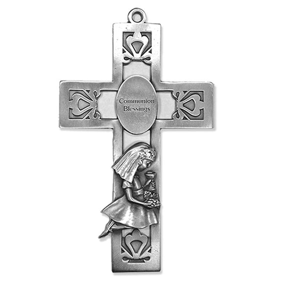 Communion Blessings Kneeling Girl Pewter Cross