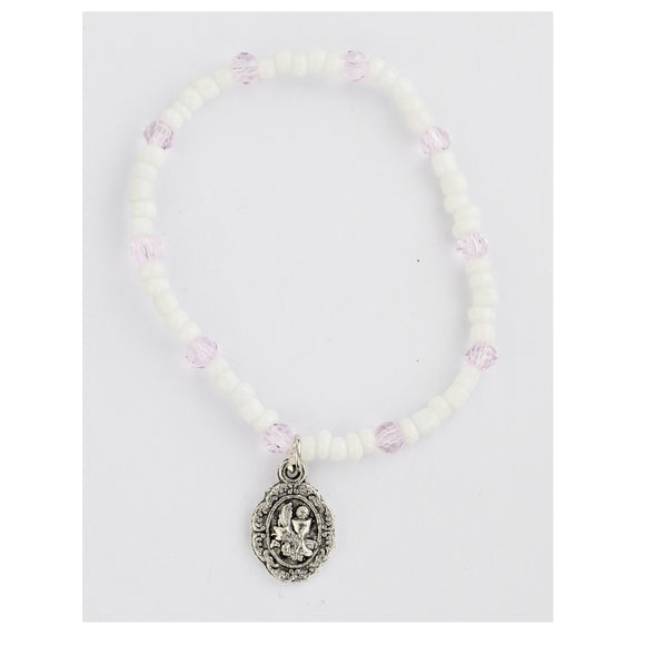 White and Pink Communion Stretch Bracelet