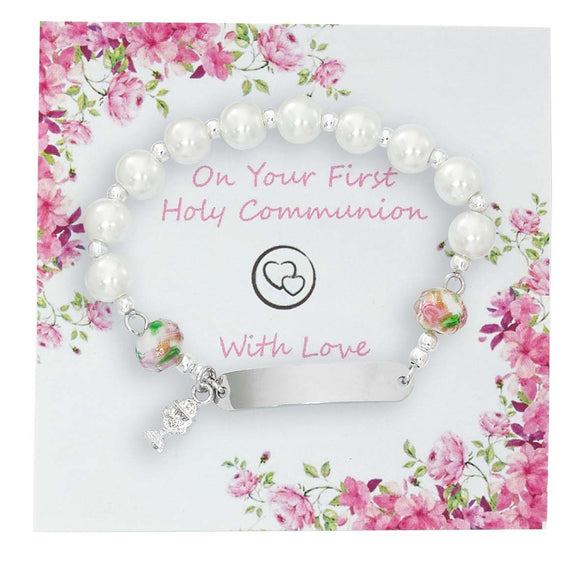 White Pearl Stretch Communion Bracelet