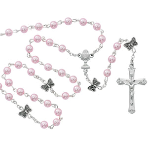 Pink Butterfly Communion Rosary