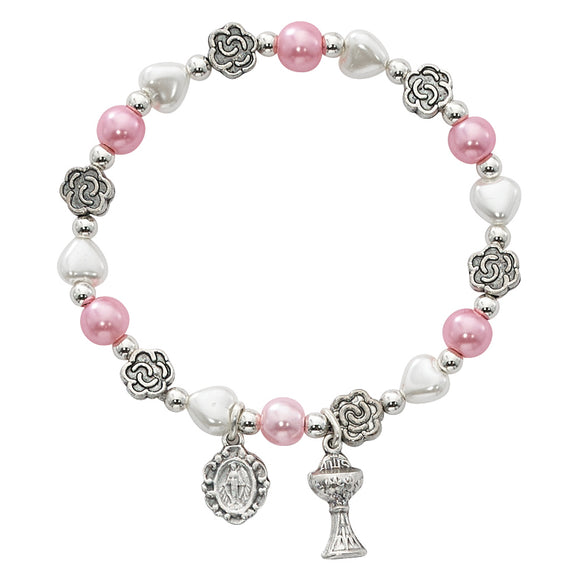 Pink Pearls & Flowers Stretch Communion Bracelet