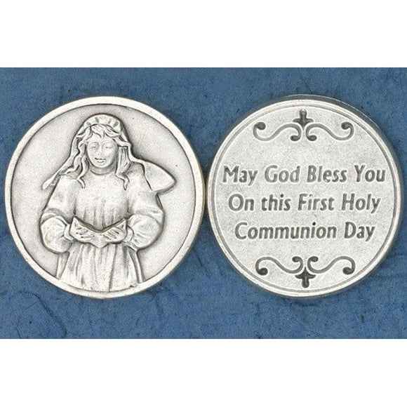 First Communion Girl Praying Pocket Token