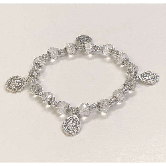 Clear Glass Stretch First Communion Bracelet with Charms