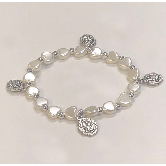 Pearl Heart Stretch First Communion Bracelet with Charms