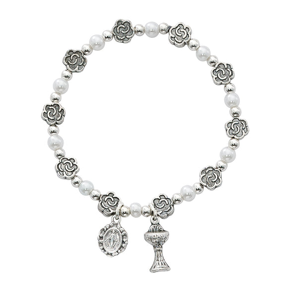 Pearls & Flowers Stretch Communion Bracelet