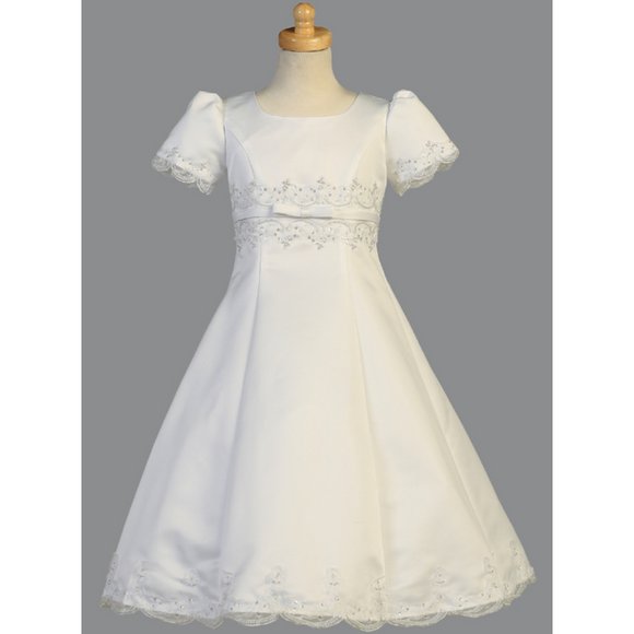 Satin A-Line First Communion Dress with Embroidery