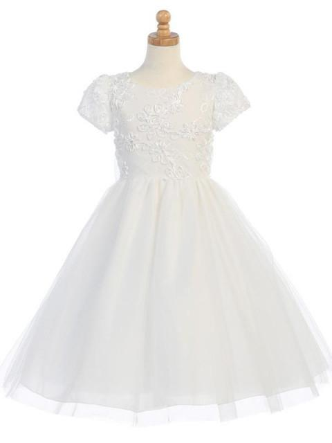 Ribbon Embroidered Tulle First Communion Dress
