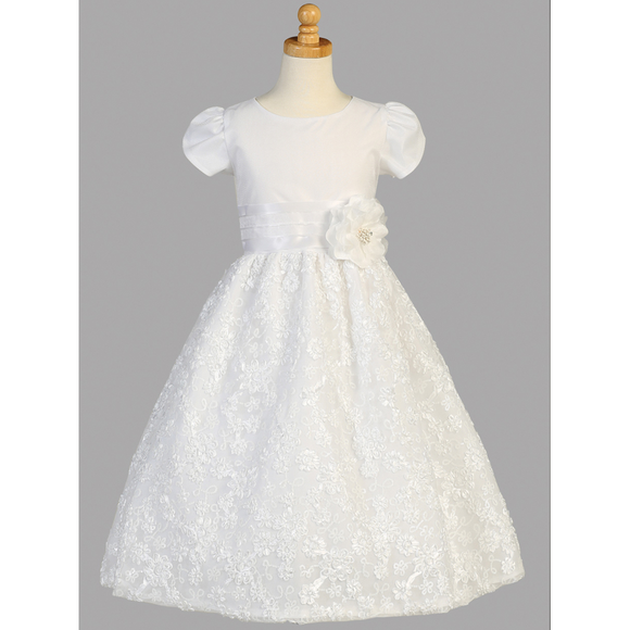 Tulle First Communion Dress with Floral Embroidery