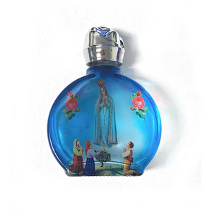 Blue Stained Glass Our Lady of Fatima Holy Water Bottle