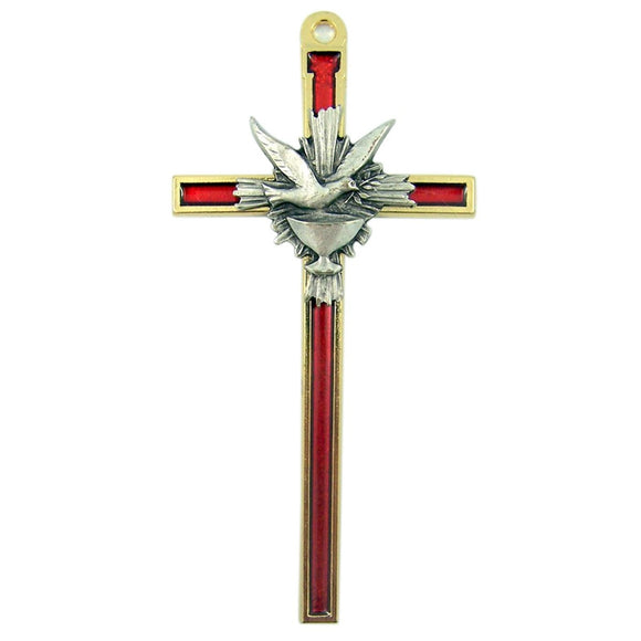 Red Enamel Holy Spirit Cross