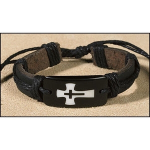 Cross in Cross Leather Bracelet
