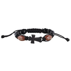 Football Corded Rosary Bracelet