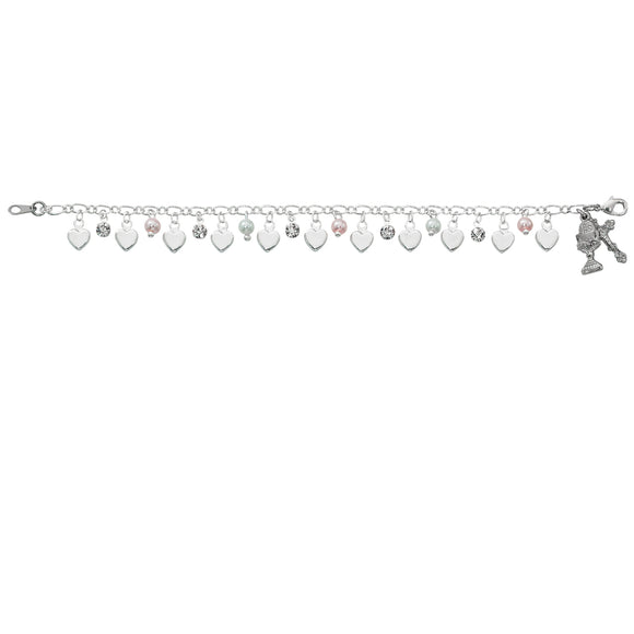 Heart, Pearl, and Rhinestone Youth Communion Bracelet