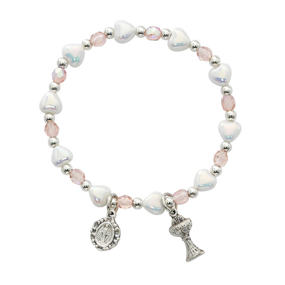 White Heart & Pink Stretch Communion Bracelet