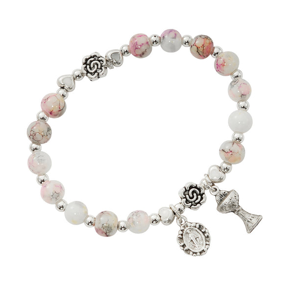 Pink Marble Stretch Communion Bracelet