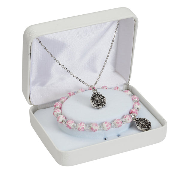 Miraculous Medal Necklace and Pink Floral Ceramic Bracelet Set