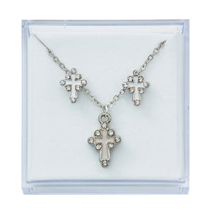 Silver Plated White and Crystal Set