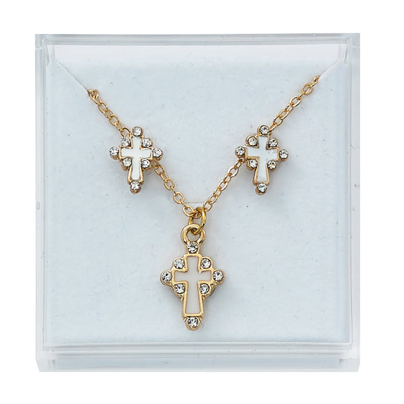 Gold Plated White and Crystal Set