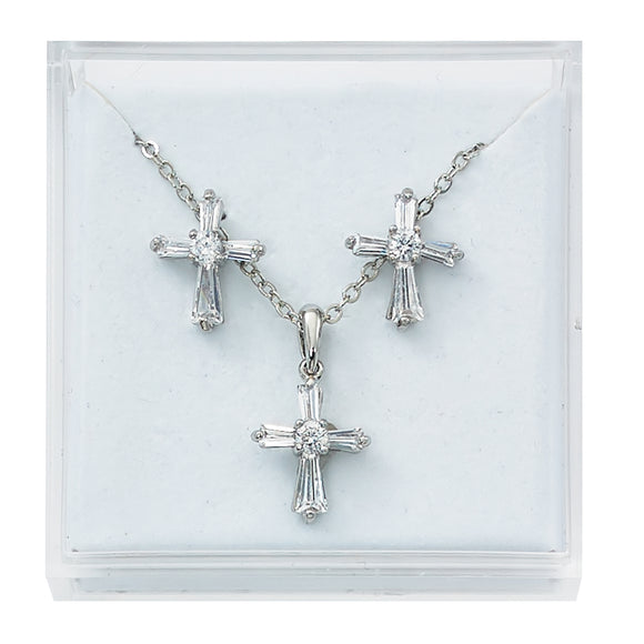 Clear Crystal Cross Jewelry Set