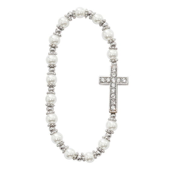 Pearl Stone Cross Stretch Bracelet