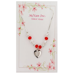 Red and Pearl Bead Dove Necklace