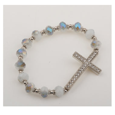 Silver Gray Crystal Cross Stretch Bracelet