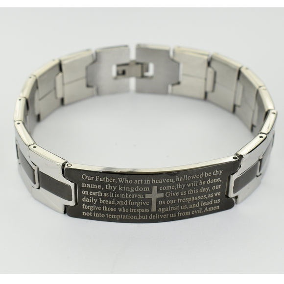 Men's Black & Stainless Our Father Bracelet