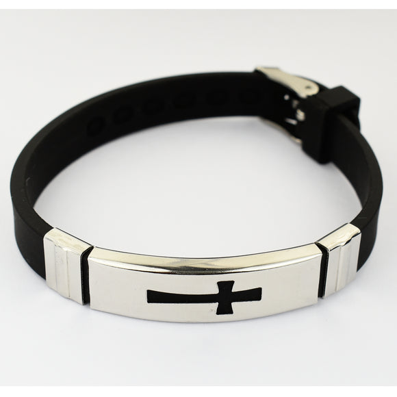 Rubber & Stainless Steel Cross Bracelet