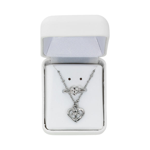 Cross in Heart Necklace and Ring Set