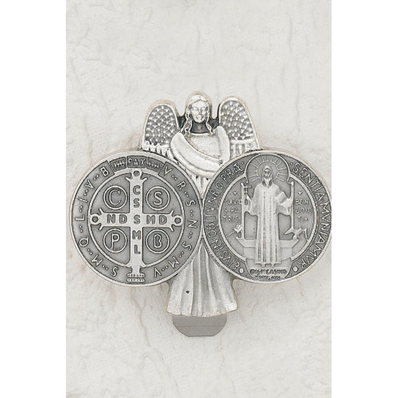 Angel with St. Benedict Medal Visor Clip