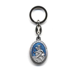Blue St. Christopher Keychain