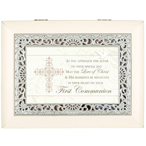 Large Ivory & Silver First Communion Music Box